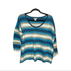LUCKY BRAND Striped 3/4 Sleeve Knit Top (NEW!)